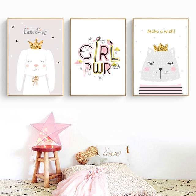 US $3 29 42% OFF|Cartoon Cat Dog Swan Crown Rainbow Quote Nordic Posters  And Prints Wall Art Canvas Painting Wall Pictures For Kids Room Decor-in