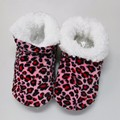 Women Winter Warm Cotton-padded Shoes Leopard Print Home Slippers Soft Bottom Antiskid Indoor Shoes Foot Warmer Floor Socks