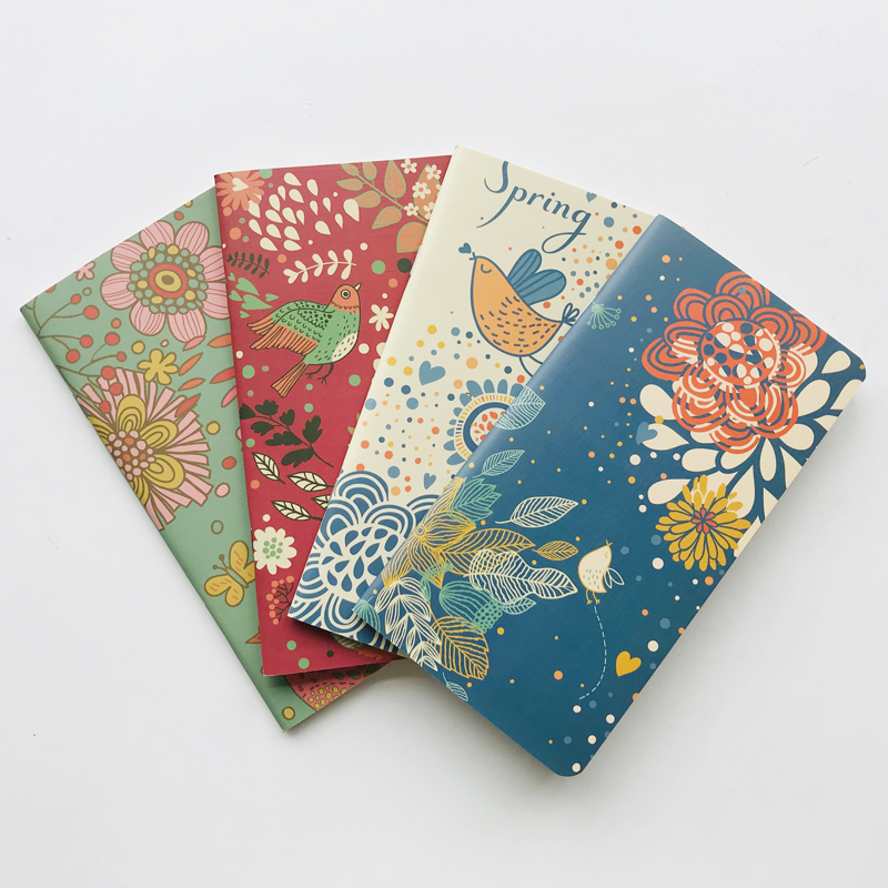 24 Sheets Elegant Birds & Flowers Blanket Notebook Writing Diary Book Student Stationery School Office Supply