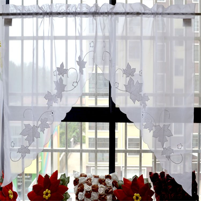 1 Pair Maple Leaf Embroidered Kitchen Window Curtain Swag