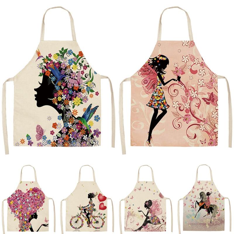 1Pcs Flower Butterfly Girl Printed Kitchen Aprons For Women Home Cooking Baking Waist Bib Cotton Linen Pinafore 53*65cm WQ0034