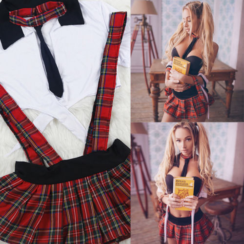 Sexy Women Ladies Naughty High School Girl Plaid Strapless Short Sleeve Crop Tops+Straps Fancy Skirt 2pcs Costume Outfit Cosplay girl