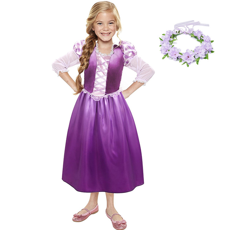 YOFEEL Girls Rapunzel Princess Cosplay Costume Kids Dress ...