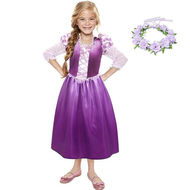 YOFEEL בנות Rapunzl נסיכת קוספליי תלבושות ילדים להתלבש כותרת שרוול סבוך ילדים קיץ מסיבת ליל כל הקדושים שמלה