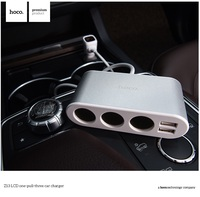 HOCO Brand Car Charger 3 Cigarette Lighter Adapter Splitter Dual USB Ports Car Charger With LED