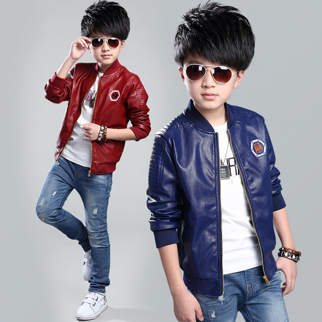 Baby Boys Leather Jacket Spring And Autumn 2017 Teenage Kids Jackets