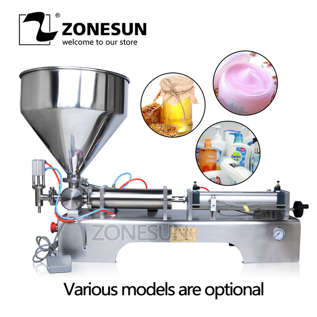 ZONESUN Liquid Filling Machine 10-300ml Pneumatic Volumetric Softdrin Pneumatic Liquid Filler for Oil Water Juice Honey Soap
