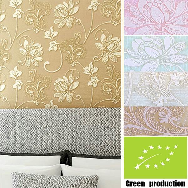 modern garden bedroom design style wallpaper fashion wood fiber 3d wall paper for walls flocking flower