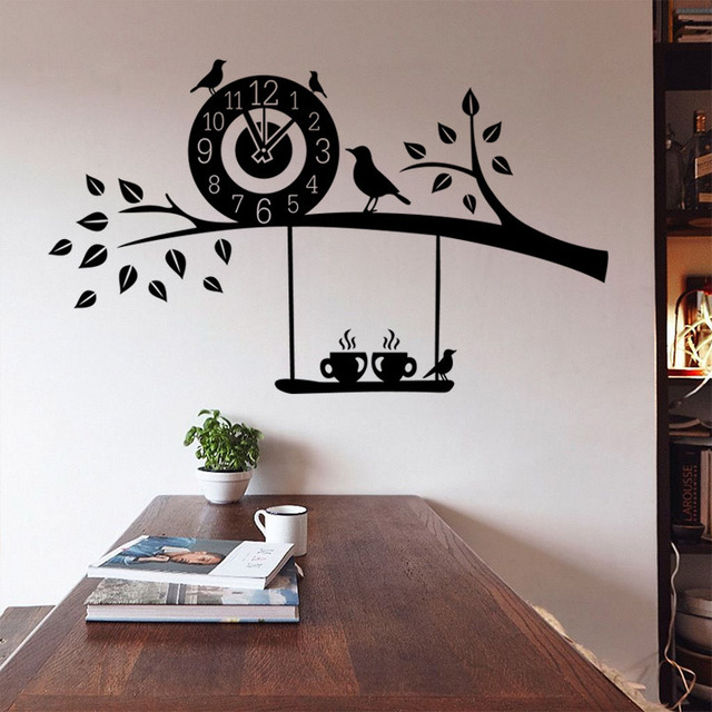 large scale tree birds creative coffee time clock sticker kitchen