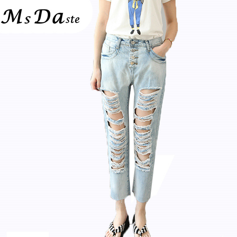 2017 Summer Skinny Hole Ripped Jeans Woman Blue Denim Vintage Straight Casual Jeans Feminino Mid Waist Pants Femme Mujer Female Women's Clothing Bottoms