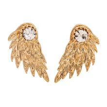 Hot Black Gold Silver Plated Gothic Women Cool Jewelry Angel Wings Rhinestone Alloy Stud Earrings