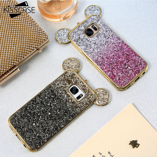 new concept 84857 614be US $3.99 20% OFF|KISSCASE Girly Glitter Ears Case For Samsung S8 S7 s6 EdgE  Gradient Sequins Bling Soft TPU Cover For Galaxy S8 S7 S6 Edge Coque-in ...