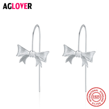 Unique Design Delicate 100% 925 Sterling Silver Bow Knot Earrings for Women Wedding Original Jewelry