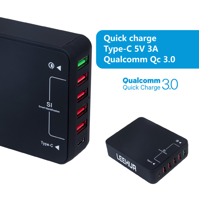 6-Ports USB Wall Charger with Quatcomm Quick Charge 3.0 Technology/Type-C EU/US/UK Plug
