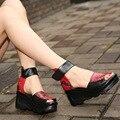 Thick soles high heeled sandals platform women leather sandals wedges ladies high heel wedges cover heels peep toe sandals