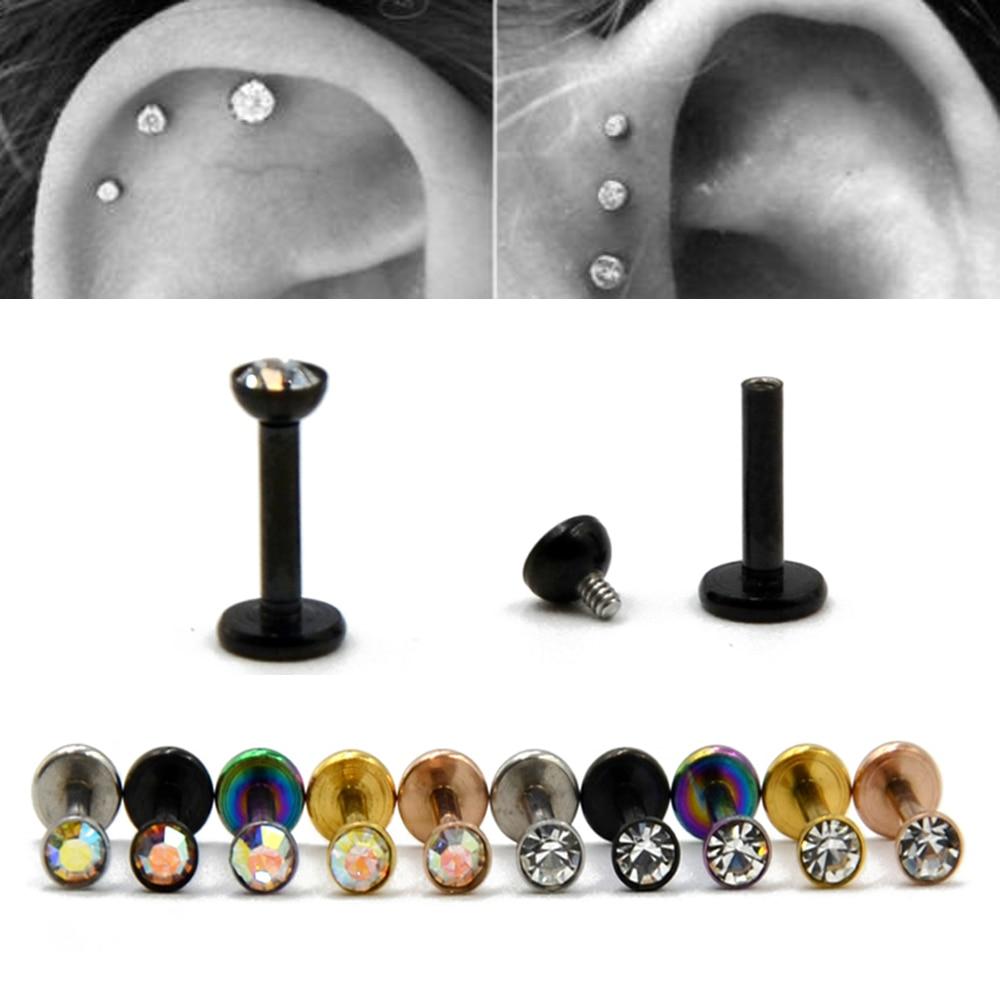 1Piece Steel Internally Thread Flat CZ Gem Ear Cartilage Tragus Helix Piercing Labret Lip Studs Ring 16g Body Jewelry
