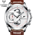 CADISEN Watch Men Business Quartz Watches Dive 30M Leather Casual Sport Men Clock Top Brand Luxury Role Men Watch Brown Black