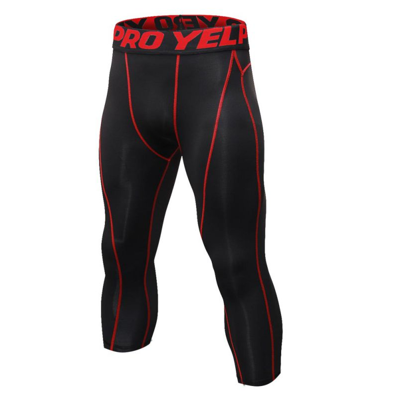 Men's Compression Gym Running Base Layers Skins Tights Running Long Pants Men's 7 points quick dry pants Plus Size