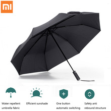 Xiaomi Mijia otomatik şemsiye alüminyum rüzgar geçirmez su geçirmez UV yağmurlu şemsiye adam kadın yaz kış Bumbershoot