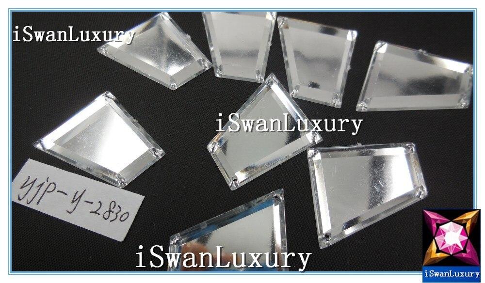 Китай A+++ 28x30 мм трапециевидные кристаллы зеркальные серебряные отдельные бусины, стразы камни пришить для швейные Стразы Бисер для шитья кристалл
