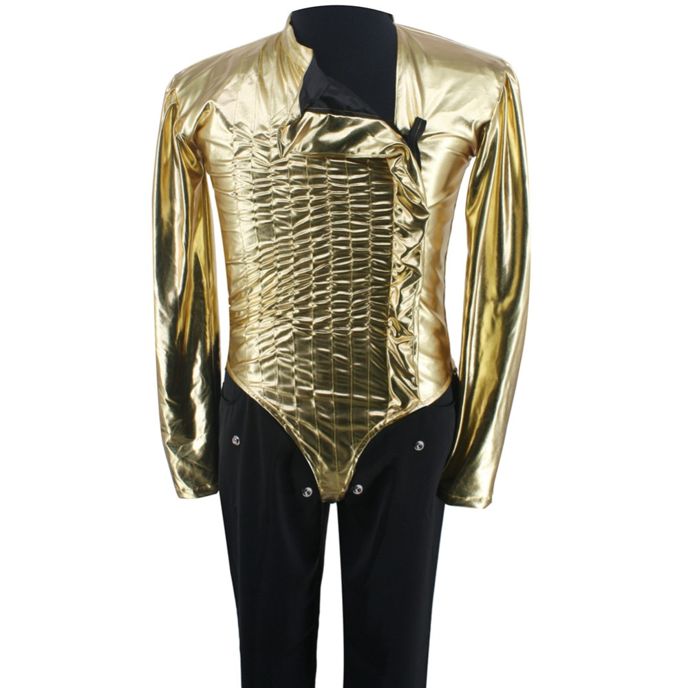 HOT MJ Michael Jackson Classic BAD Dangerous Jam Golden Bodysuit Kostym Jacka Byxor för Performance Collection 1990s