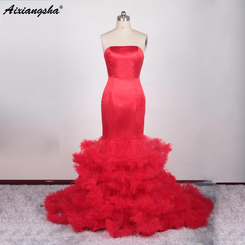 Red Color Mermaid Wedding Dresses Trumpet Corset Bride Gown Bodice Lace Up Back Cloud Bridal Gowns Real Picture Robe De Mariage