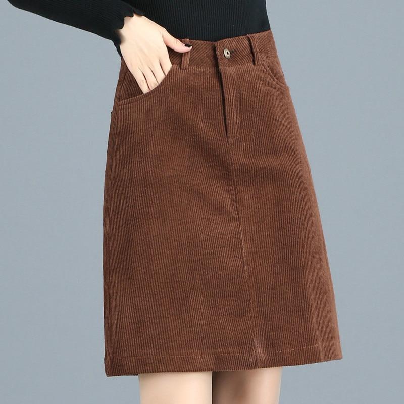 Fall Winter Casual Women Brown Black High Waisted Corduroy Skirt 2018 Autumn Spring 3xl 4xl Slim