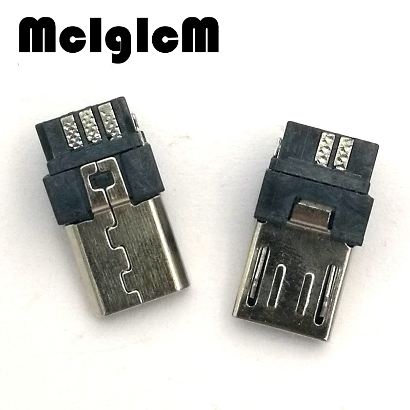 MCIGICM 100pcs Micro USB 5 pin Male Plug Connector Welding Type for Tail Charging Mobile Phone Free Shipping 10pcs micro usb 5pin welding type male plug connectors charger 5p usb tail charging socket 4 in 1 white black