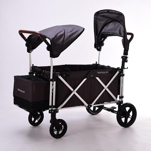 Twin Kinderwagen 360 Graden Omni-directionele Wielen Dubbele Kinderwagen Twin Baby Lichtgewicht Dubbele Gemakkelijk Te Dragen Wandelwagen