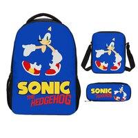 Sonic The Hedgehog 3D Print 3pcs/Set Students Backpack Pencil Bag Men Bookbags School Bags For Girls Boys Kids Bagpack