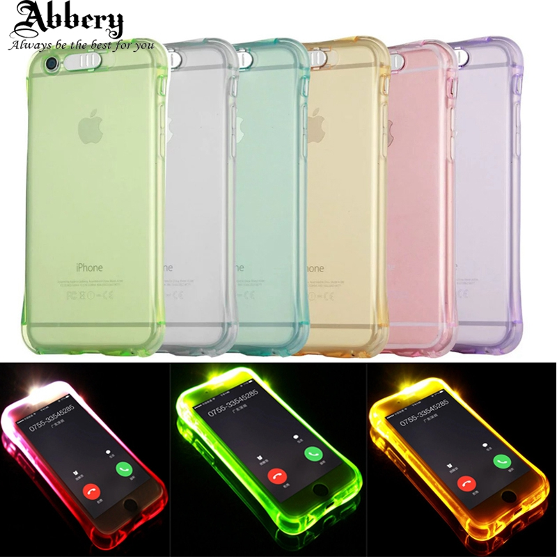 Abbery Fashion Case For iPhone 5 5S Soft TPU Case LED Flash Light Up Remind Incoming Call Cover Cases for Coque iPhone 5S SE