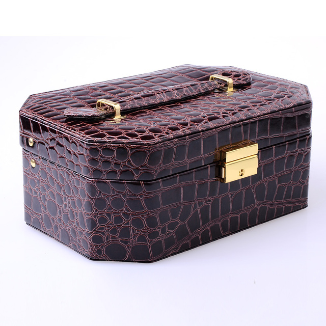 High grade pu jewelry box  European style  jewelry storage box cosmetic box with  lock  for holding jewelry  wholesale
