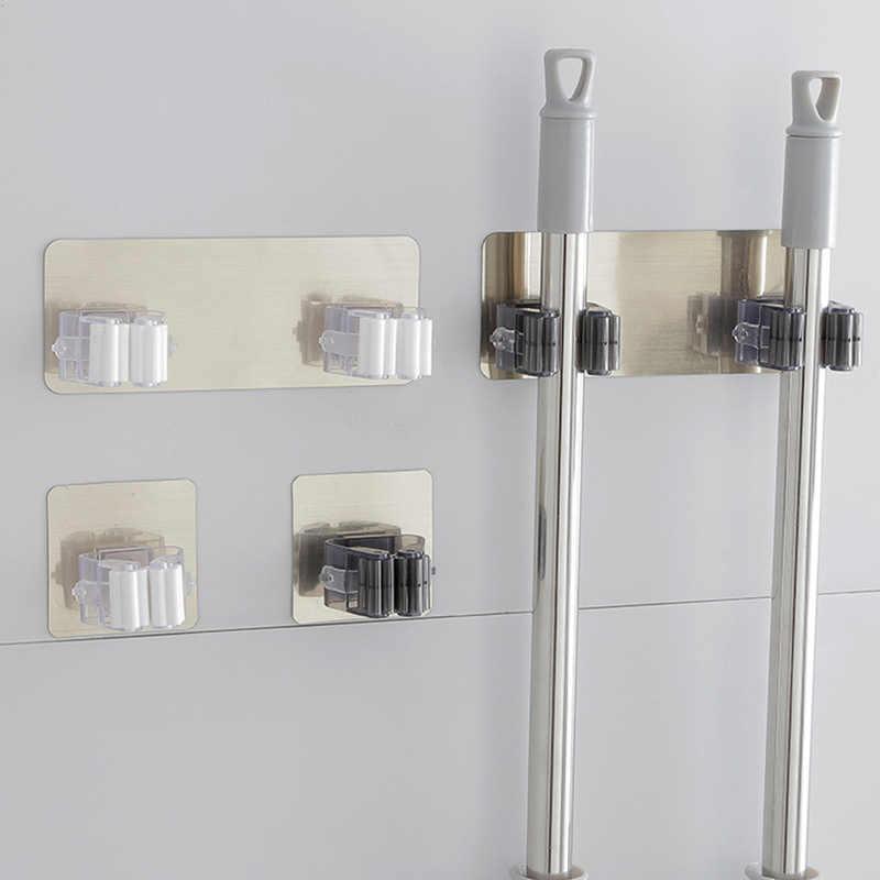 1 pieza montado en la pared organizador de fregona soporte de cepillo gancho para escoba estante de almacenamiento de cocina herramienta de pared ama de llaves accesorio ganchos para tubería colgante