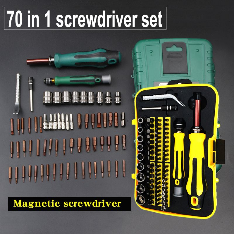 70 in 1 Professional Screwdriver Set for Auto,Homeowner's Tool Kit for Phones, Cameras, Watches repair Magnetic screwdriver 100pcs pack 3 in 1 eyeglass screwdriver sunglass glasses watch repair tool kit with keychain portable screwdriver tool wholesale