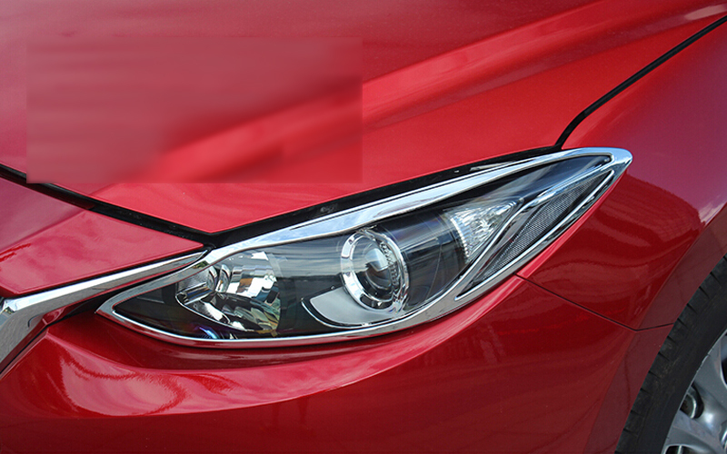 abs chrome front headlight lamp cover trim 2pcs for mazda. Black Bedroom Furniture Sets. Home Design Ideas