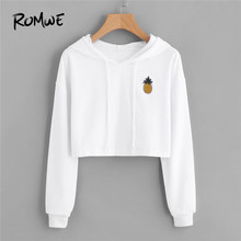 ROMWE Pineapple Patch Crop Hoodie White Clothes Autumn Long Sleeve Drawstring Streetwear Women Top Pullover Patched Sweatshirt(China)