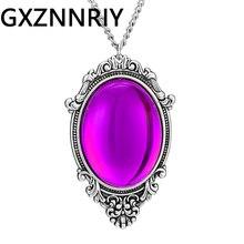 цена на Vintage Big Purple Precious Stone Pendant Necklace for Women Accessories Antique Chain Long Necklaces Pendants Jewelry Gifts