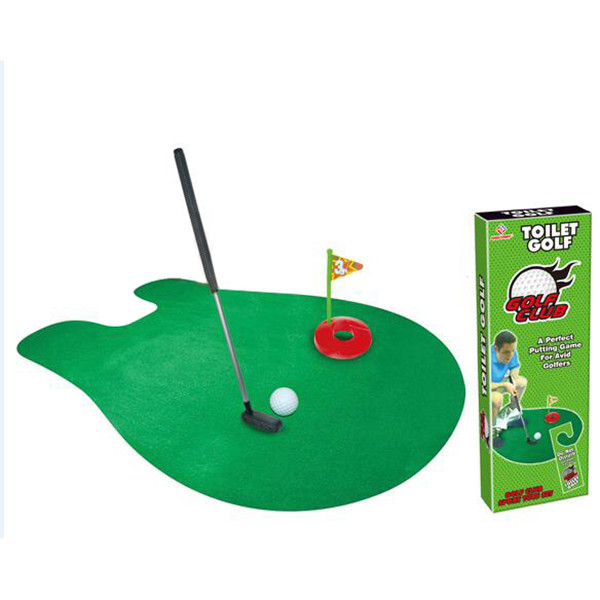 Bathroom Funny Golf Toilet Time Mini Game Play Putter Novelty Gag Gift Mat Free Shipping