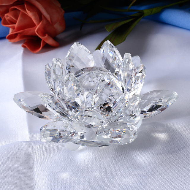 8/10/12CM Multicolor Crystal Lotus Flowers Miniature Feng Shui Glass Figurines Crafts Paperweight Home Decor Accessories Gift 6