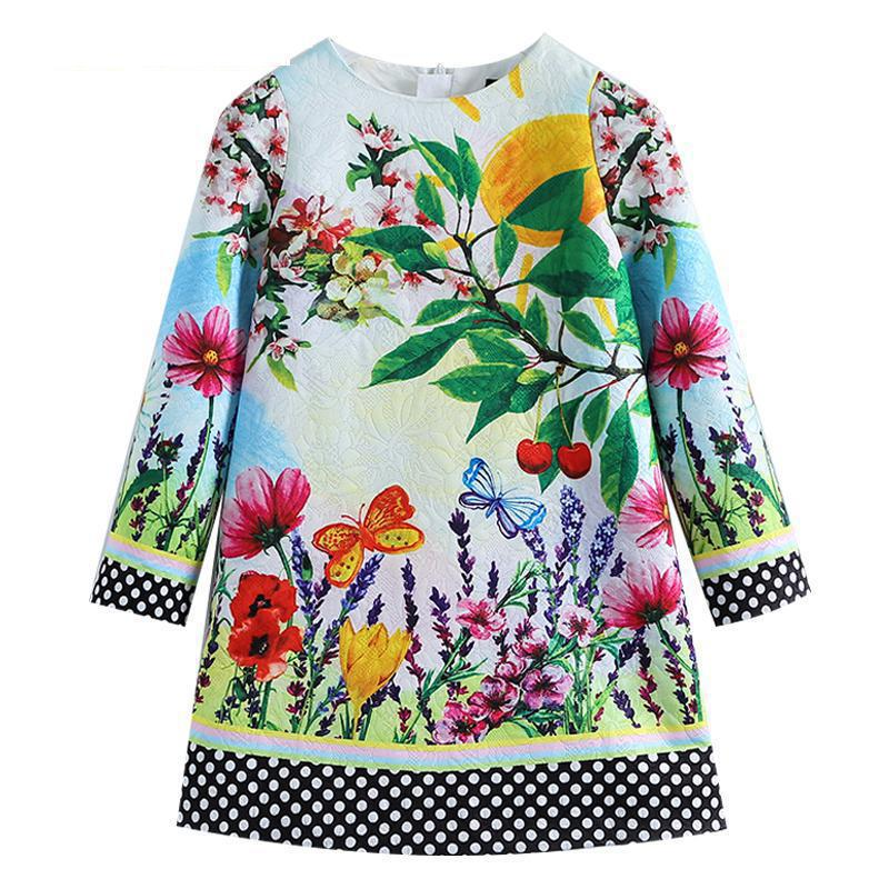 Girls Dresses 2018 New European And American Style Spring Pattern Printing Long Sleeves White Girl Dresses For 3-14 Year Ds373 1 design laser cut white elegant pattern west cowboy style vintage wedding invitations card kit blank paper printing invitation