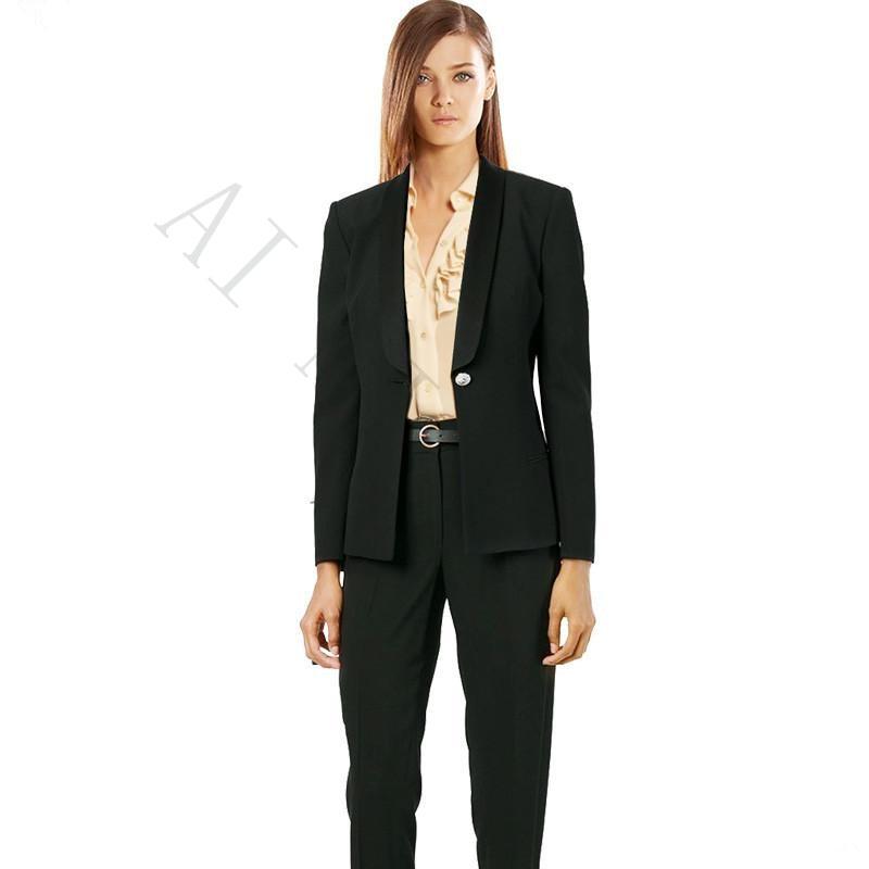 baeb1c19e2f Осень-зима Профессиональный Брюки для девочек ПИФов с Куртки и Брюки для  девочек офисные равномерное дамы Бизнес Для женщин Брючные костюм.