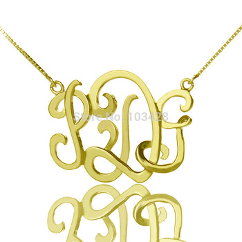 AILIN Gold Color Over 925 Silver Custom 3D Monogram Necklace Cut 3 Handpainted Monogrammed 3D Initials Name Necklace Unique Gift