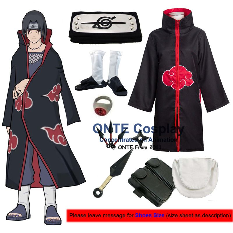 Japan Anime Naruto Cosplay Costumes Akatsuki Itachi Deidara Tobi Hidan Pein Sasori Cloaks with Weapons + Shoes for Halloween