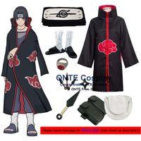 Japan Anime Naruto Cosplay Kostuums Akatsuki Itachi Deidara Tobi Hidan Pein Sasori Cloaks met Wapens + Schoenen voor Halloween