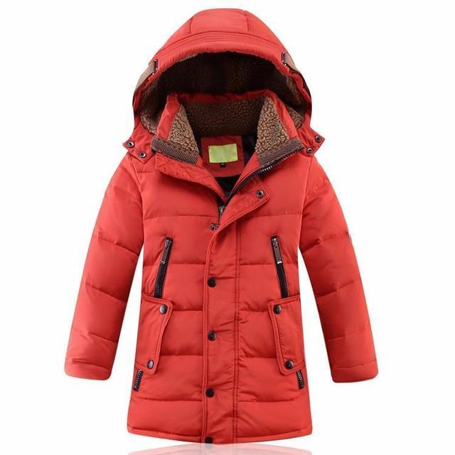 1c136e0ff Niños Chaqueta de Invierno Pato Abajo Largo Gruesas Niños Niñas Traje Para  La Nieve Con Capucha