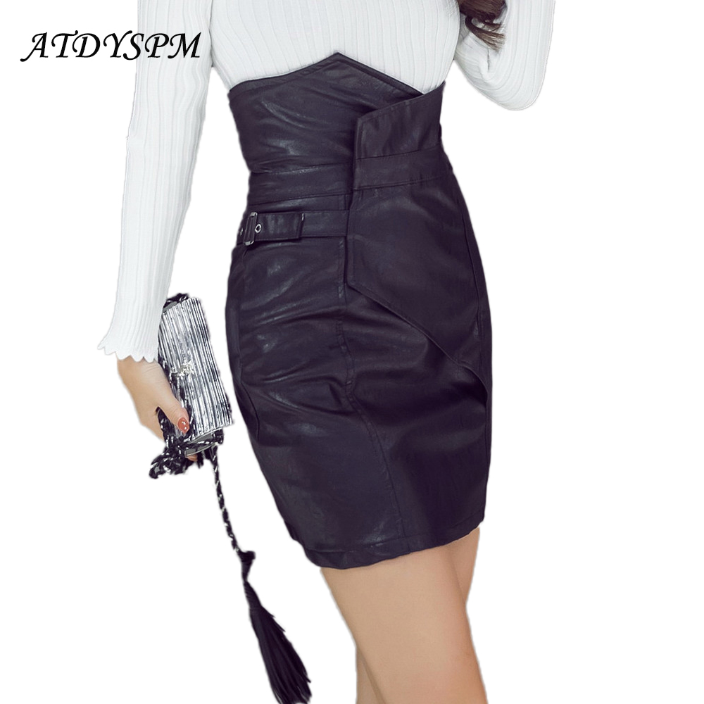 New 2017 Asymmetrical PU faux Leather Skirts Women High Waist Sexy Vintage A-Line Office Skirts Female Solid Mini Bodycon Skirt