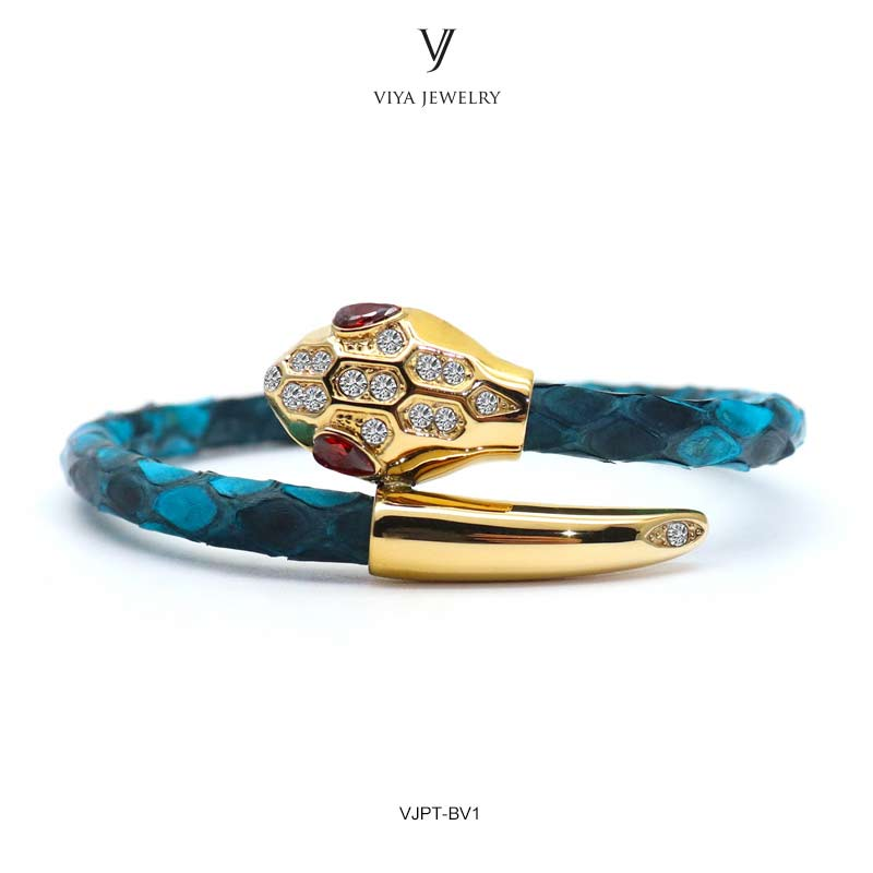 VJPT-BV1---Python leather snake bracelet ,fashion snake head Python leather bracelet,charms snake bracelet women men (11)