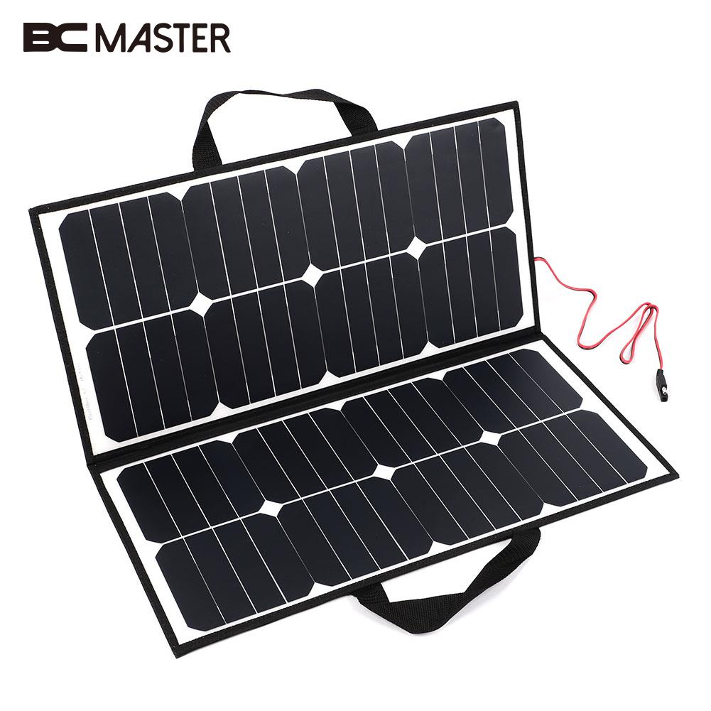 BCMaster 50W 18V Solar Power Panel Portable Outdoor Folding Solar Panel Bank Board Charger For Battery 12w dual usb folding solar charger solar panel module power bank outdoor emergency cell phone charger voltage current display