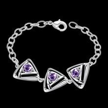 JEXXI Wonderful Design Jewelry 925 Sterling Silver Charming Amethyst Austrian Crystal Bracelet For Women Fashion Gifts Wholesale