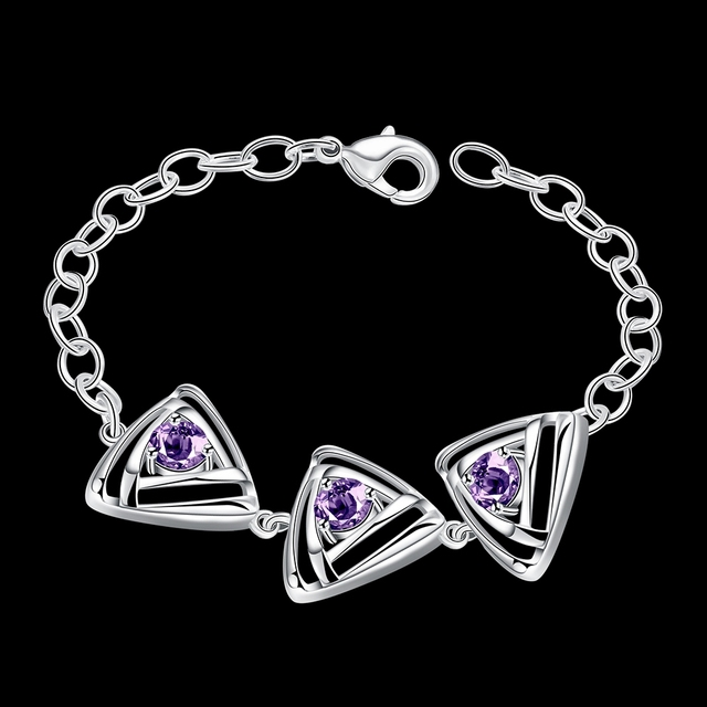 JEXXI Wonderful Design Jewelry 925 Sterling Silver Charming Amethyst Austrian Crystal Bracelet For Women Fashion Gifts Wholesale
